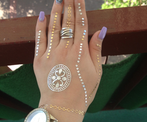 nails, gold tattoos, and flasht tattoos image