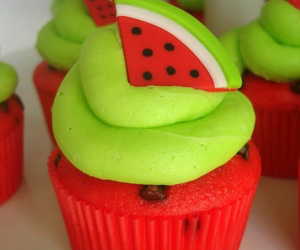 cupcake, watermelon, and red image