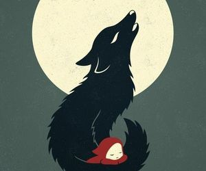 wolf, moon, and art image
