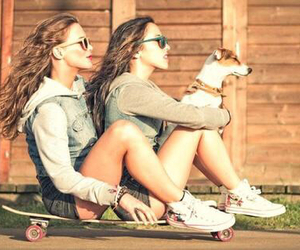 girl, friends, and dog image