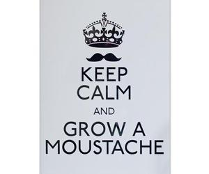 keep calm, moustache, and text image