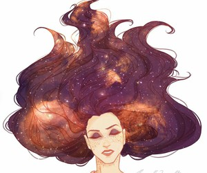 art, galaxy, and hair image