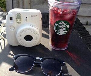 starbucks, sunglasses, and polaroid image