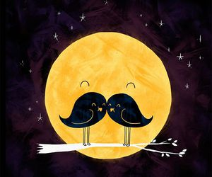 moon, bird, and mustache image