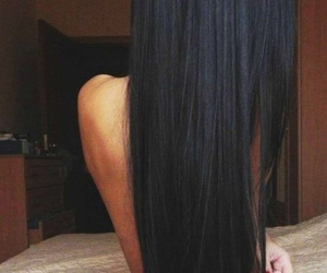 black, hair, and straight hair image