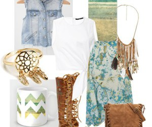 blue and white, outfit, and Polyvore image