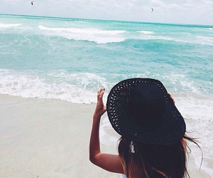 beach, hat, and fashion image