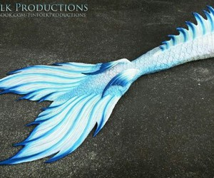 blue, mermaid, and tail image