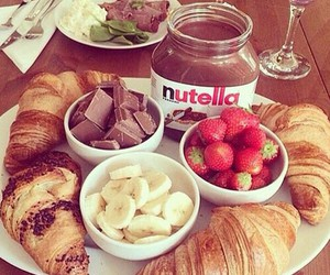 breakfast, croissant, and nutella image