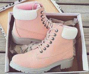 boots, pink, and timberland image