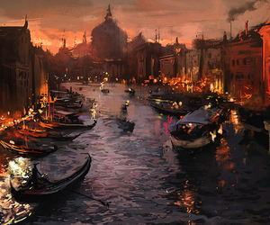 art, boat, and city image