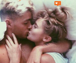blondes, couple, and heart image