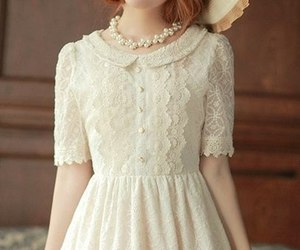 girl, lace, and beige image