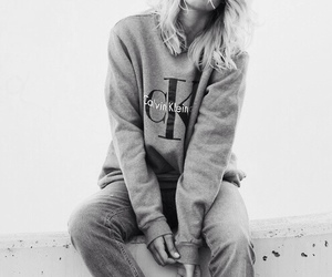 black&white, jumper, and woman image