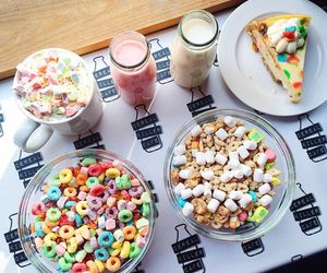 cereal, cheesecake, and milk image