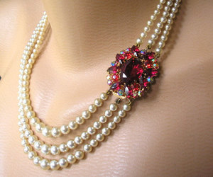 bridal jewelry, pearl necklace, and pearl choker image