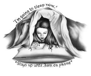 art, sleep, and phone image