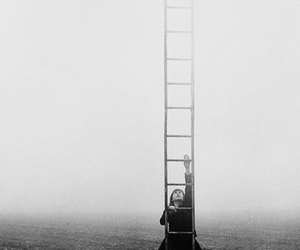 black and white, sky, and ladder image