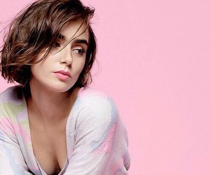 lily collins, pink, and pretty image