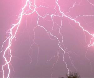 pink, lightning, and sky image