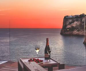 sunset, sea, and champagne image
