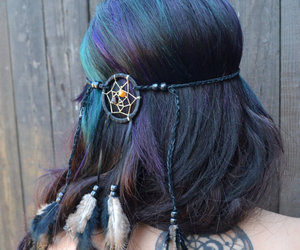 black, blue, and curles image