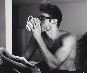 black and white, coffee, and he image