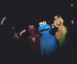 elmo, cookie monster, and hipster image