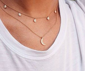 moon, necklace, and gold image
