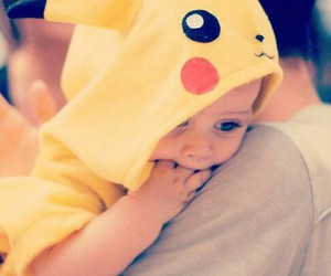 baby, cute, and pikachu image