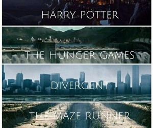 harry potter, divergent, and the maze runner image