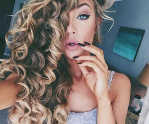 black nails, curly hair, and fashion style image