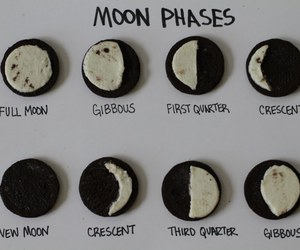 moon, moon phases, and oreo image