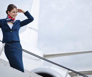 airplane, flight attendant, and stewardess image