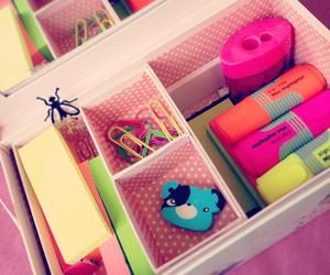 organization, stationary, and pink image