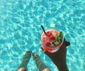 summer, drink, and pool image