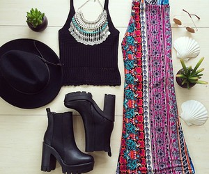 outfit, hat, and necklace image