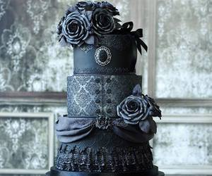 black, cake, and gothic image