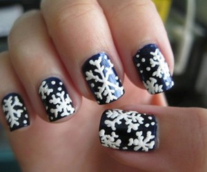 black and white, nails, and snowflake image