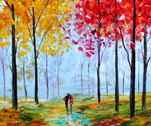 art, couple, and trees image