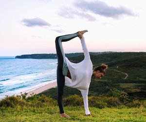 girl, fit, and yoga image