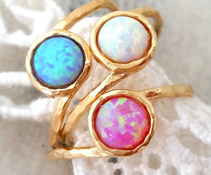 gold ring, opal ring, and delicate ring image