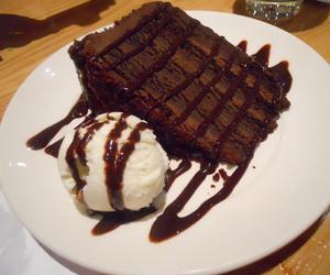 chocolate cake and vanilla ice cream image
