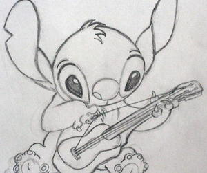 guitar, stitch, and disney image