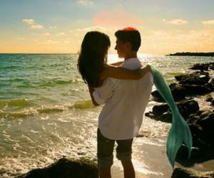 love, mermaid, and couple image