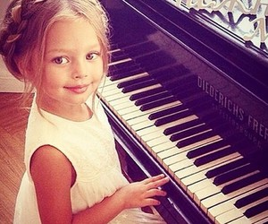 girl, piano, and beautiful image
