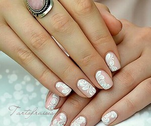 white, cute, and nails image