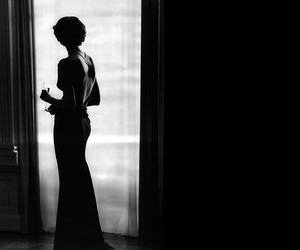 black and white, pretty, and woman image
