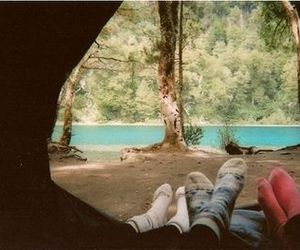 camping, tent, and socks image