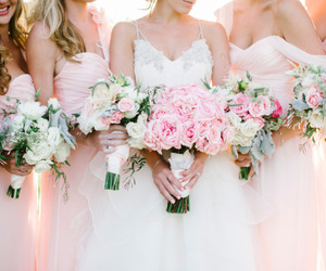 wedding, bride, and flowers image